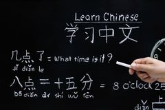 Lernen von Chinesisch, um Zeit zu sagen stockbilder