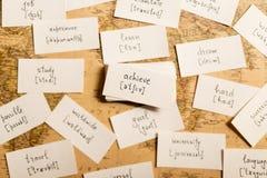 Lernen von englischen Wörtern achieve Stockbild