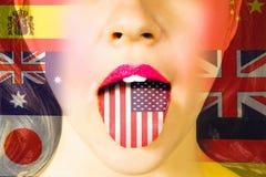 Lernen von Sprachen und Reisen Stockfoto