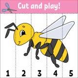 Lernen von Zahlen Schnitt und Spiel Sich entwickelndes Arbeitsblatt der Ausbildung Spiel für Kinder Tätigkeitsseite Puzzlespiel f lizenzfreie abbildung