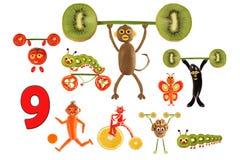 Lernen zu zählen Karikaturzahlen des Gemüses und der Früchte, wie Lizenzfreies Stockfoto