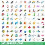 100 Lernenikonen eingestellt, isometrische Art 3d Stockfotografie