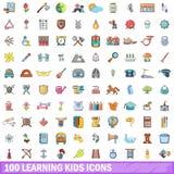 100 Lernenkinderikonen eingestellt, Karikaturart Stockbild