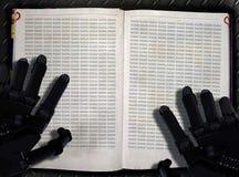 Lernfähigkeit einer Maschine und Prozessplakat der künstlichen Intelligenz Roboterhände und -lehrbuch lizenzfreies stockbild