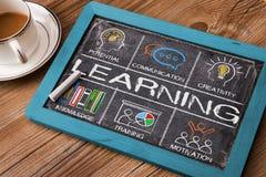 Lernkonzept-Diagramm mit Schlüsselwörtern und Ikonen Stockbild