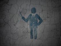 Lernkonzept: Lehrer auf Schmutzwandhintergrund Lizenzfreie Stockbilder