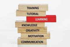 Lernkonzept mit Holzklotz Stockbilder