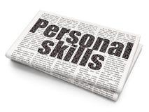 Lernkonzept: Persönliche Fähigkeiten auf Zeitungshintergrund lizenzfreie stockfotografie
