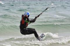 Lernprozeß wie zum Kiteboarding Stockbild