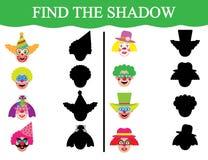 Lernspiel für Kinder Entwicklung der Aufmerksamkeit Finden Sie die Schatten von clown's Gesichtern Stockbilder