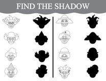 Lernspiel für Vorschulkinder Finden Sie die Schatten von clown's Gesichtern und färben Sie sie Stockfotos