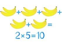 Lernspiele für Kinder, Vermehrungsaktion, Beispiel mit Bananen stock abbildung