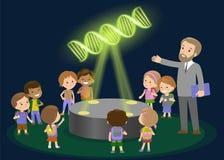 Lerntechnologie der Volksschule der Innovationsbildung und Leutekonzept - Gruppe Kinder, die tomolecule DNA schauen Hologramm an Lizenzfreie Stockbilder