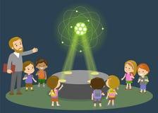 Lerntechnologie der Volksschule der Innovationsbildung und Leutekonzept - Gruppe Kinder, die zum Kohlenstoffatom schauen Stockfotografie