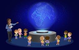 Lerntechnologie der Volksschule der Innovationsbildung und Leutekonzept - Gruppe Kinder, die zur Erde schauen Hologramm auf Raum Stockbild