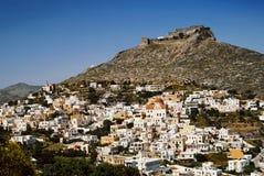 Leros wyspa miasteczko Agia Marina z antycznym Weneckim kasztelem w tle Obraz Stock