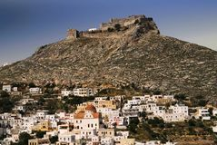Leros wyspa miasteczko Agia Marina z antycznym Weneckim kasztelem w tle Zdjęcia Stock