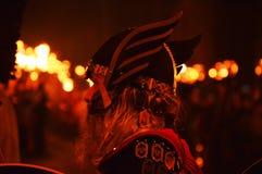 LERWICK, 26 1 2016 encima del festival de Helly Aa Viking Fotografía de archivo