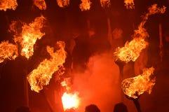LERWICK SKOTTLAND: 26 1 2016 upp den Helly Aa Viking festivalen Arkivfoton