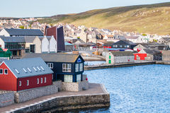 Lerwick town center under blue sky Stock Image