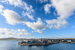 Lerwick town center under blue sky Royalty Free Stock Images