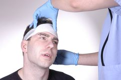 Lesão em a cabeça Fotos de Stock Royalty Free