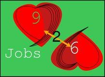 les 9 à 6 travaux pour le nouveau logo de marques illustration de vecteur