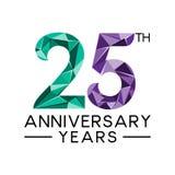 les 25èmes années d'anniversaire soustraient col moderne de triangle le plein illustration libre de droits