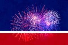 les 4èmes du fond de juillet avec des feux d'artifice ajoutent votre propre texte ou salutation Images stock
