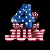Les 4èmes du texte 3d frais de juillet rendent (sur b Photos libres de droits