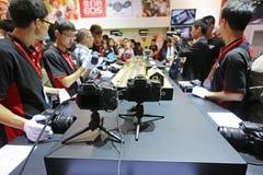 2014 les 17èmes machines photographiques internationales d'équipement de représentation de la Chine Pékin et d'expo de technologie Photographie stock libre de droits