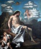 les 14èmes stations de la croix, Jésus est étendues dans la tombe et couvertes dans l'encens Image libre de droits