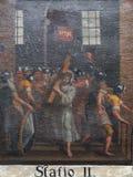 les 2èmes stations de la croix, Jésus est données sa croix Image libre de droits