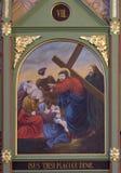les 8èmes stations de la croix, Jésus rencontre les filles de Jérusalem Photographie stock
