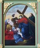 les 8èmes stations de la croix, Jésus rencontre les filles de Jérusalem Images stock