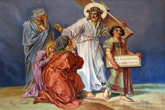 les 8èmes stations de la croix, Jésus rencontre les filles de Jérusalem Image libre de droits