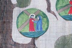 les 4èmes stations de la croix, Jésus rencontre sa mère Image stock