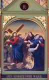 les 4èmes stations de la croix, Jésus rencontre sa mère Photographie stock