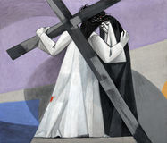 les 4èmes stations de la croix, Jésus rencontre sa mère Photographie stock libre de droits