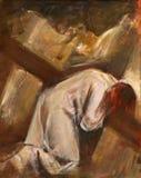 les 9èmes stations de la croix, Jésus tombe la troisième fois photos libres de droits