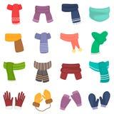 Les écharpes d'hiver et les icônes de couleur de gants ont placé pour le Web et la conception mobile Photo stock
