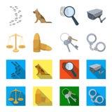 Les échelles de la justice, les cartouches, un groupe de clés, menotte Icônes réglées de collection de prison dans la bande dessi Image libre de droits