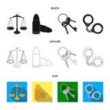 Les échelles de la justice, les cartouches, un groupe de clés, menotte Icônes réglées de collection de prison dans noir, plat, ve Photos stock