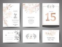 Les économies de luxe de mariage la date, collection de cartes d'invitation avec la feuille d'or fleurissent et calibre de concep illustration de vecteur