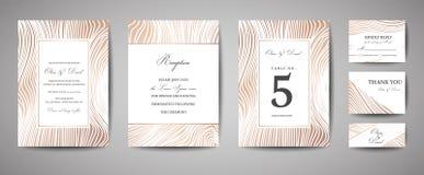 Les économies de luxe de mariage la date, marine d'invitation cardent la collection avec la texture en bois de feuille d'or Couve illustration de vecteur