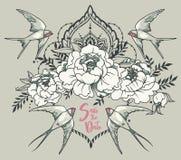 Les économies romantiques de ` la carte de ` de date avec des hirondelles, pivoine fleurissent et cadre décoratif Image stock