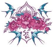 Les économies romantiques de ` la carte de ` de date avec des hirondelles, pivoine fleurissent et cadre décoratif Photo libre de droits