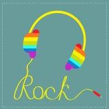 Les écouteurs d'arc-en-ciel avec la corde dans la forme du mot basculent Fond pour une carte d'invitation ou une félicitation Car Image libre de droits