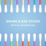 Les écouvillons, oreille colle dans le style plat sur le fond bleu Outils médicaux, objets d'hygiène Images libres de droits