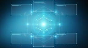 Les écrans de Digital se connectent par interface au rendu des données 3D d'hologrammes illustration de vecteur